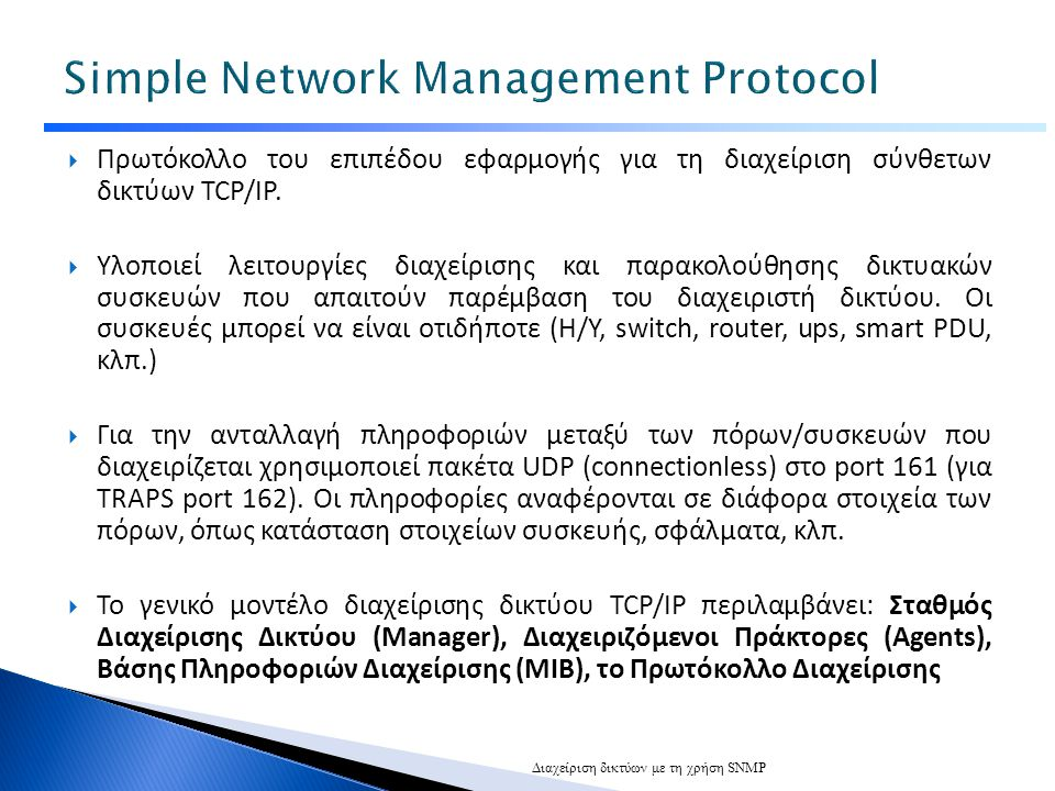  Πρωτόκολλο του επιπέδου εφαρμογής για τη διαχείριση σύνθετων δικτύων TCP/IP.