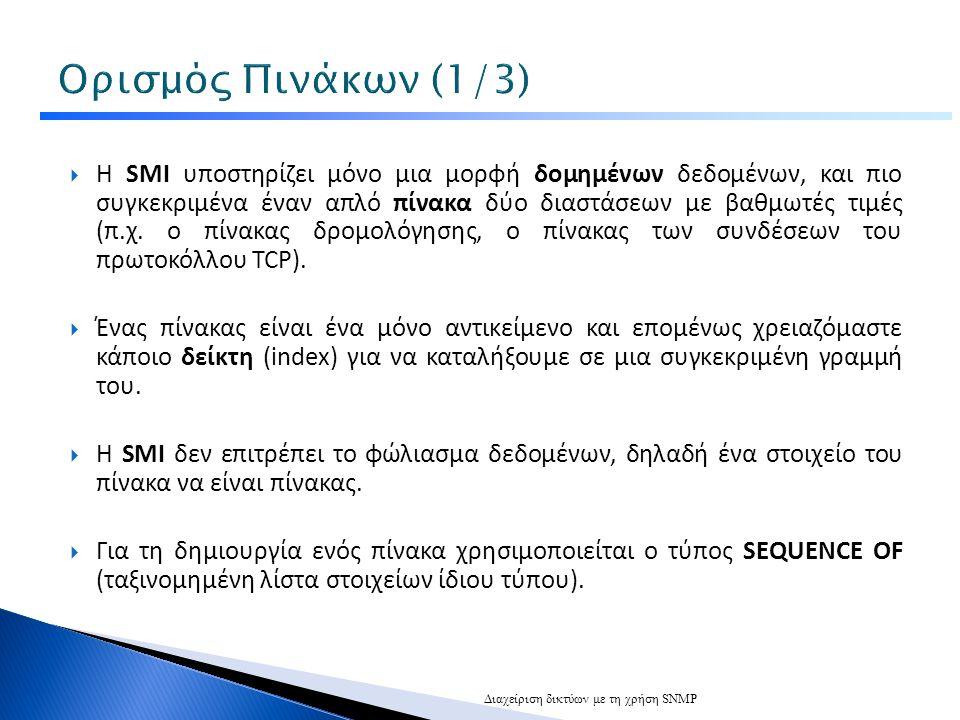  Η SMI υποστηρίζει μόνο μια μορφή δομημένων δεδομένων, και πιο συγκεκριμένα έναν απλό πίνακα δύο διαστάσεων με βαθμωτές τιμές (π.χ.