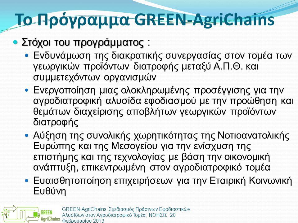 Το Πρόγραμμα GREEN-AgriChains  Στόχοι του προγράμματος  Στόχοι του προγράμματος :  Ενδυνάμωση της διακρατικής συνεργασίας στον τομέα των γεωργικών προϊόντων διατροφής μεταξύ Α.Π.Θ.