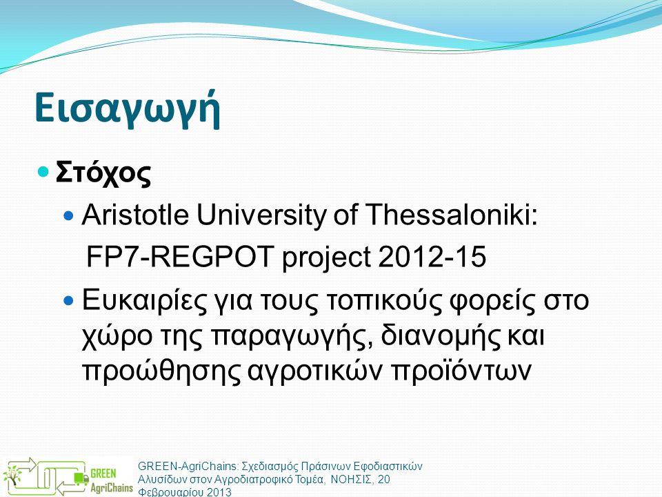Εισαγωγή  Στόχος  Aristotle University of Thessaloniki: FP7-REGPOT project 2012-15  Ευκαιρίες για τους τοπικούς φορείς στο χώρο της παραγωγής, διανομής και προώθησης αγροτικών προϊόντων GREEN-AgriChains: Σχεδιασμός Πράσινων Εφοδιαστικών Αλυσίδων στον Αγροδιατροφικό Τομέα, ΝΟΗΣΙΣ, 20 Φεβρουαρίου 2013