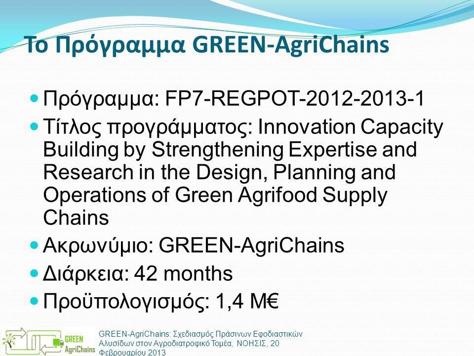 Το Πρόγραμμα GREEN-AgriChains  Πρόγραμμα: FP7-REGPOT-2012-2013-1  Τίτλος προγράμματος: Innovation Capacity Building by Strengthening Expertise and Research in the Design, Planning and Operations of Green Agrifood Supply Chains  Ακρωνύμιο: GREEN-AgriChains  Διάρκεια: 42 months  Προϋπολογισμός: 1,4 Μ€ GREEN-AgriChains: Σχεδιασμός Πράσινων Εφοδιαστικών Αλυσίδων στον Αγροδιατροφικό Τομέα, ΝΟΗΣΙΣ, 20 Φεβρουαρίου 2013