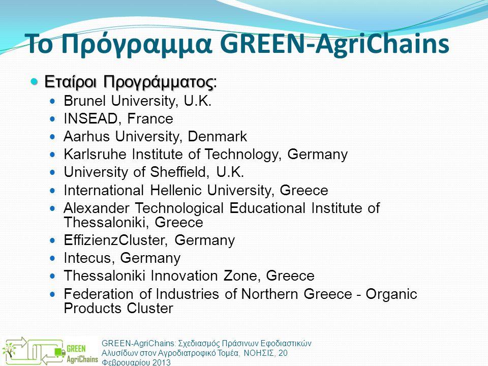 Το Πρόγραμμα GREEN-AgriChains  Εταίροι Προγράμματος  Εταίροι Προγράμματος:  Brunel University, U.K.  INSEAD, France  Aarhus University, Denmark 