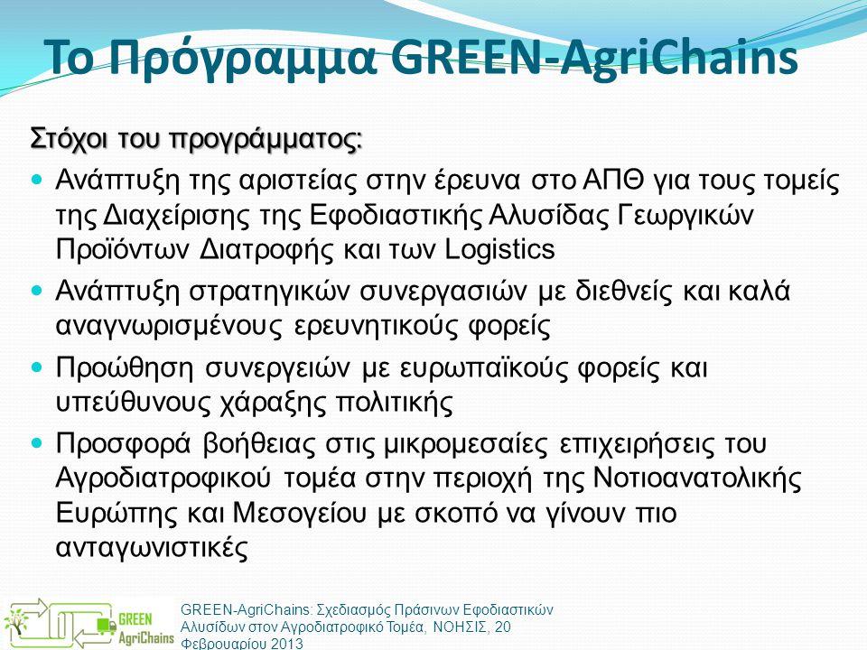 Το Πρόγραμμα GREEN-AgriChains Στόχοι του προγράμματος:  Ανάπτυξη της αριστείας στην έρευνα στο ΑΠΘ για τους τομείς της Διαχείρισης της Εφοδιαστικής Αλυσίδας Γεωργικών Προϊόντων Διατροφής και των Logistics  Ανάπτυξη στρατηγικών συνεργασιών με διεθνείς και καλά αναγνωρισμένους ερευνητικούς φορείς  Προώθηση συνεργειών με ευρωπαϊκούς φορείς και υπεύθυνους χάραξης πολιτικής  Προσφορά βοήθειας στις μικρομεσαίες επιχειρήσεις του Αγροδιατροφικού τομέα στην περιοχή της Νοτιοανατολικής Ευρώπης και Μεσογείου με σκοπό να γίνουν πιο ανταγωνιστικές GREEN-AgriChains: Σχεδιασμός Πράσινων Εφοδιαστικών Αλυσίδων στον Αγροδιατροφικό Τομέα, ΝΟΗΣΙΣ, 20 Φεβρουαρίου 2013