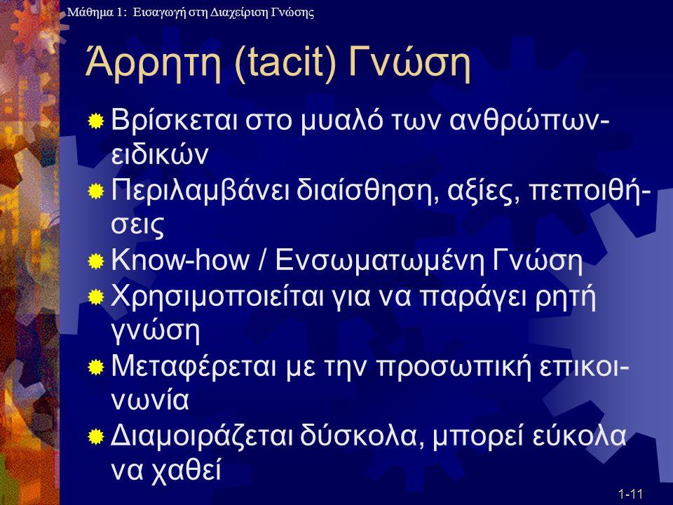 Μάθημα 1: Εισαγωγή στη Διαχείριση Γνώσης 1-11 Άρρητη (tacit) Γνώση  Βρίσκεται στο μυαλό των ανθρώπων- ειδικών  Περιλαμβάνει διαίσθηση, αξίες, πεποιθ