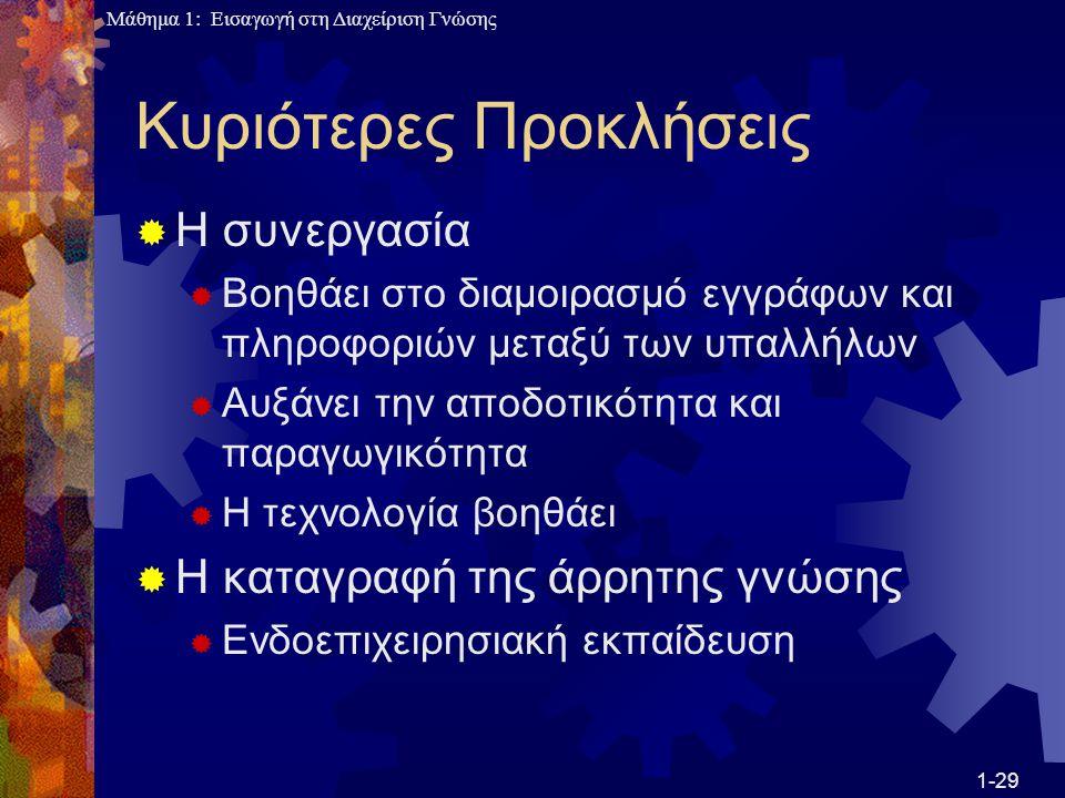 Μάθημα 1: Εισαγωγή στη Διαχείριση Γνώσης Κυριότερες Προκλήσεις  Η συνεργασία  Βοηθάει στο διαμοιρασμό εγγράφων και πληροφοριών μεταξύ των υπαλλήλων