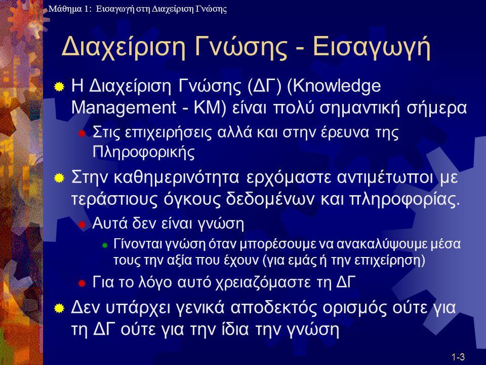 Μάθημα 1: Εισαγωγή στη Διαχείριση Γνώσης 1-14 Διαχείριση Γνώσης: Ιδανική Περίπτωση  Σε έναν ιδανικό οργανισμό οι υπάλληλοι ανταλλάσσουν γνώση ακόμα και αν βρίσκονται σε διαφορετικά «πόστα» υποβοηθούμενοι από την τεχνολογία, αλλά και από καθιερωμένες πρακτικές της εταιρίας  Έτσι η γνώση γίνεται «κτήμα» της φιλοσοφίας της εταιρίας