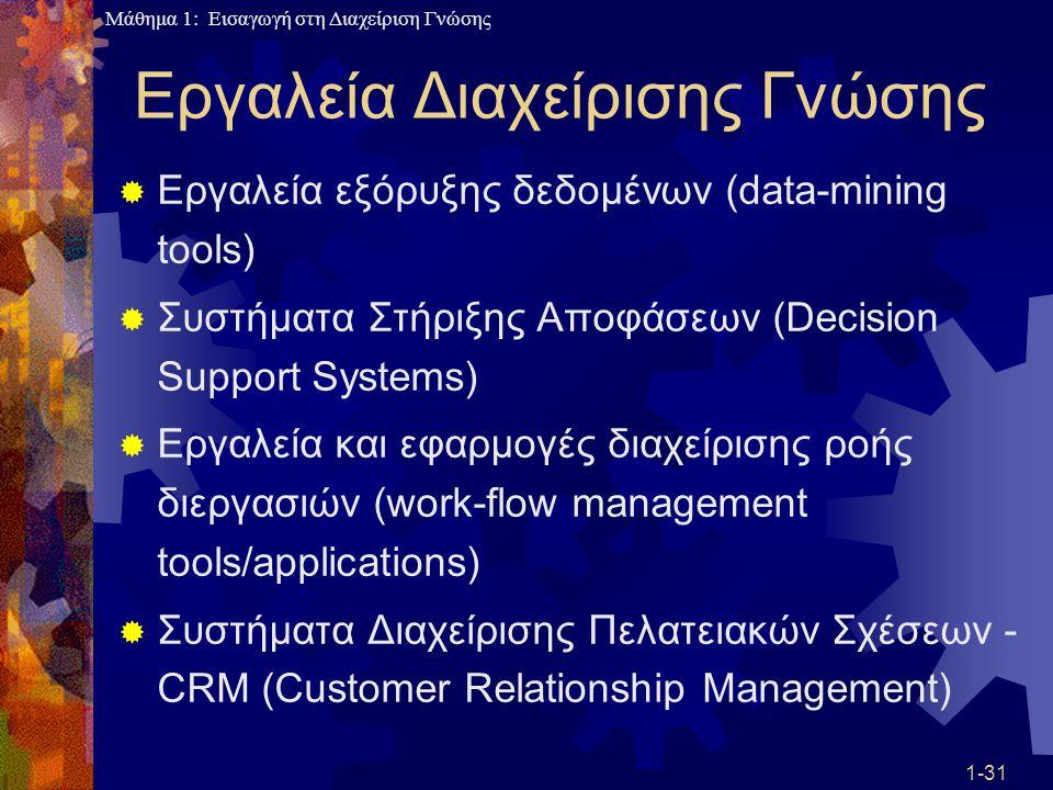 Μάθημα 1: Εισαγωγή στη Διαχείριση Γνώσης 1-31 Εργαλεία Διαχείρισης Γνώσης  Εργαλεία εξόρυξης δεδομένων (data-mining tools)  Συστήματα Στήριξης Αποφά