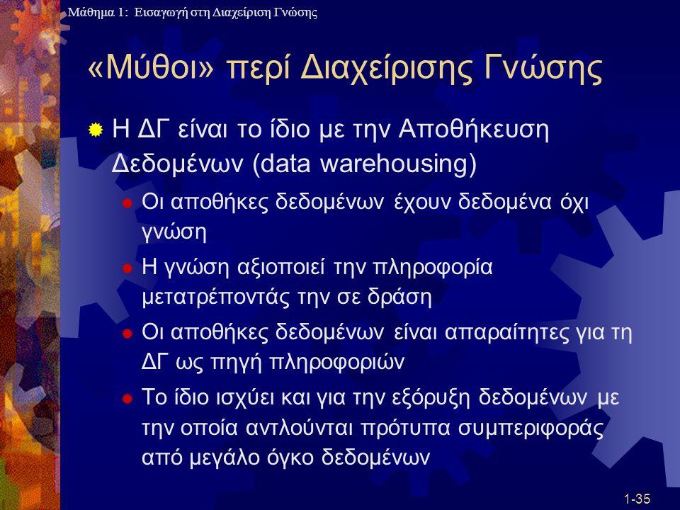 Μάθημα 1: Εισαγωγή στη Διαχείριση Γνώσης 1-35 «Μύθοι» περί Διαχείρισης Γνώσης  Η ΔΓ είναι το ίδιο με την Αποθήκευση Δεδομένων (data warehousing)  Οι