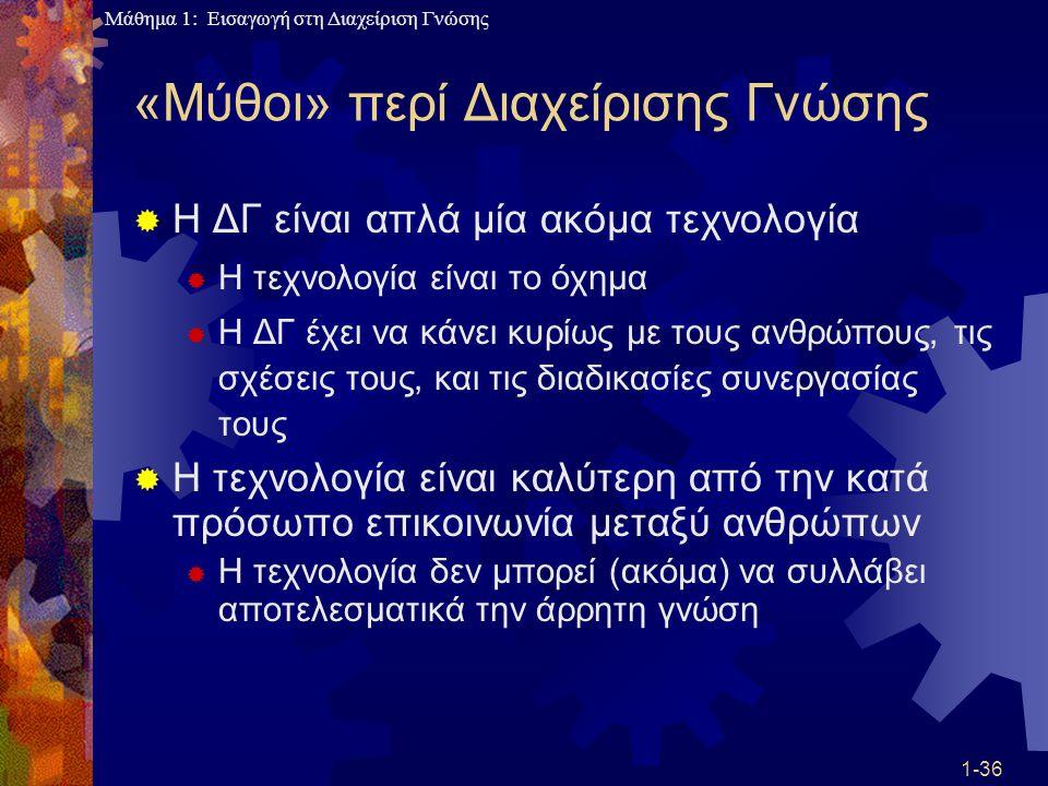 Μάθημα 1: Εισαγωγή στη Διαχείριση Γνώσης 1-36 «Μύθοι» περί Διαχείρισης Γνώσης  Η ΔΓ είναι απλά μία ακόμα τεχνολογία  Η τεχνολογία είναι το όχημα  Η