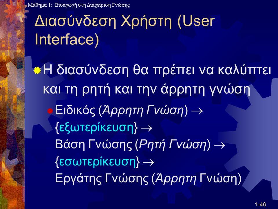 Μάθημα 1: Εισαγωγή στη Διαχείριση Γνώσης 1-46 Διασύνδεση Χρήστη (User Interface)  Η διασύνδεση θα πρέπει να καλύπτει και τη ρητή και την άρρητη γνώση