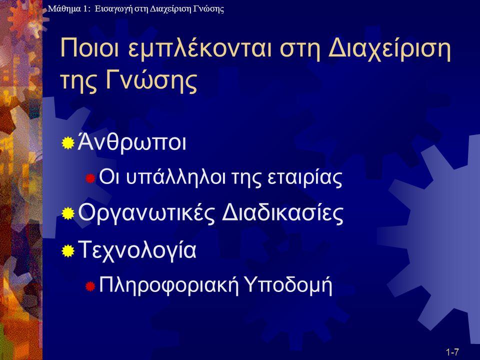 Μάθημα 1: Εισαγωγή στη Διαχείριση Γνώσης «Μύθοι» περί ΔΓ  Η ΔΓ σχετίζεται μόνο με το εσωτερικό της επιχείρησης  Μεγάλο μέρος της γνώσης έρχεται από προμηθευτές, αντιπροσώπους, κυβερνητικές υπηρεσίες και πελάτες  Προβλήματα: μη συμβατή τεχνολογία, ασφάλεια, πολύπλοκος σχεδιασμός 1-38