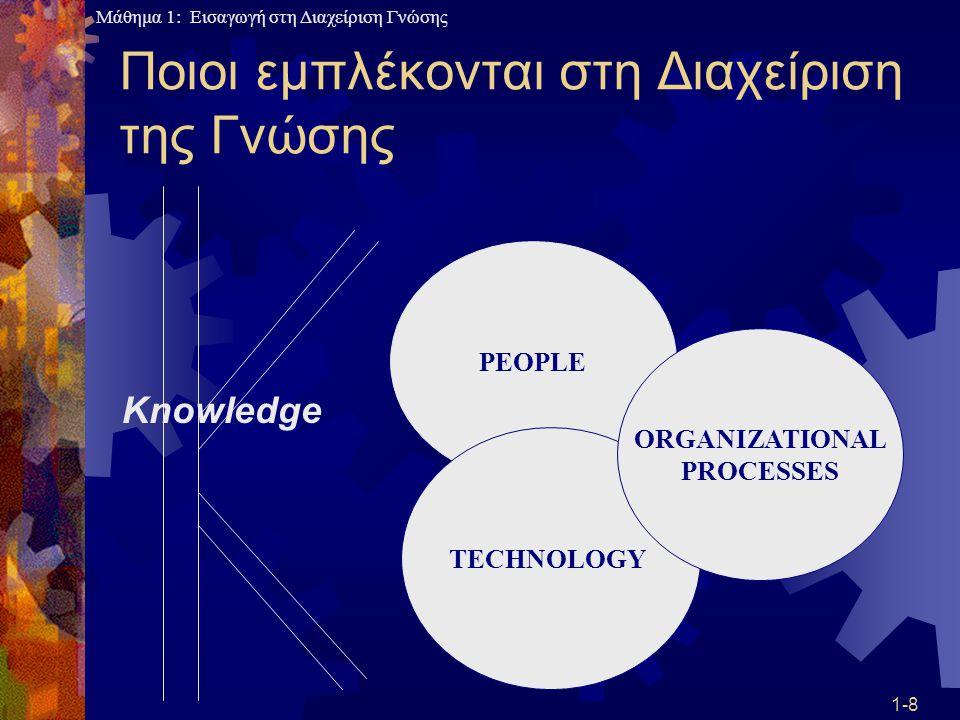 Μάθημα 1: Εισαγωγή στη Διαχείριση Γνώσης 1-39 «Μύθοι» περί ΔΓ  Οι υπάλληλοι μιας επιχείρησης δυσκολεύονται στο να μοιραστούν τη γνώση τους με άλλους  Εξαρτάται από τον χαρακτήρα αυτού που έχει τη γνώση, ποιος ζητάει τη γνώση, φιλοσοφία της εταιρίας, σημαντικότητα της γνώσης, κίνητρα, εμπιστοσύνη μεταξύ των στελεχών  Στην παραδοσιακή επιχείρηση ο κατέχων δεν διανοούνταν να μοιραστεί τις γνώσεις του γιατί έχανε το prestige του  Στο νέο είδος επιχείρησης οι υπάλληλοι πρέπει να πειστούν πως όλοι κερδίζουν από το διαμοιρασμό της γνώσης γιατί κερδίζει η επιχείρηση σαν σύνολο, αλλά και οι ίδιοι γιατί και αυτοί θα μάθουν πράγματα που δεν ξέρουν από άλλους