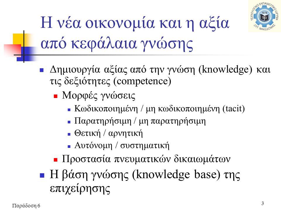 Παράδοση 6 3  Δημιουργία αξίας από την γνώση (knowledge) και τις δεξιότητες (competence)  Μορφές γνώσεις  Κωδικοποιημένη / μη κωδικοποιημένη (tacit)  Παρατηρήσιμη / μη παρατηρήσιμη  Θετική / αρνητική  Αυτόνομη / συστηματική  Προστασία πνευματικών δικαιωμάτων  Η βάση γνώσης (knowledge base) της επιχείρησης Η νέα οικονομία και η αξία από κεφάλαια γνώσης