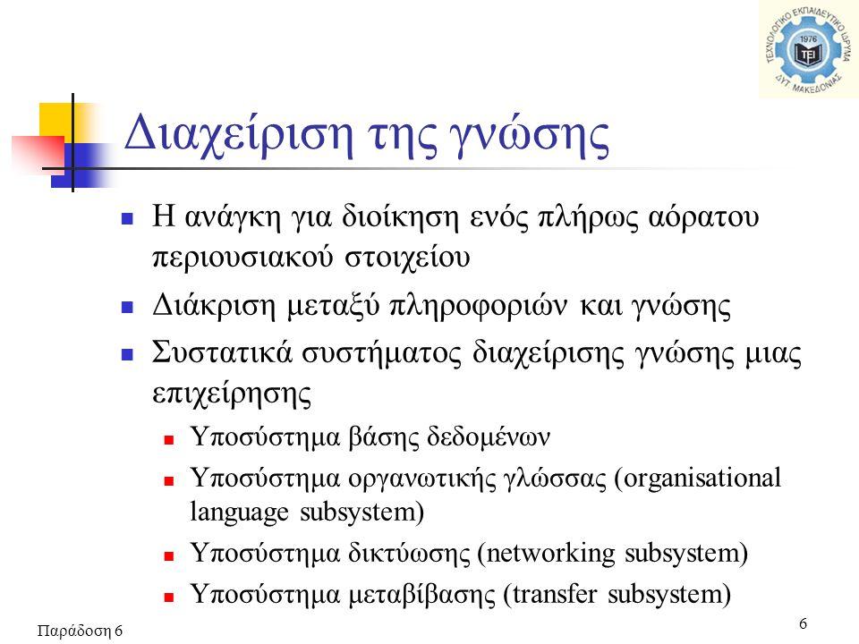 Παράδοση 6 6 Διαχείριση της γνώσης  Η ανάγκη για διοίκηση ενός πλήρως αόρατου περιουσιακού στοιχείου  Διάκριση μεταξύ πληροφοριών και γνώσης  Συστατικά συστήματος διαχείρισης γνώσης μιας επιχείρησης  Υποσύστημα βάσης δεδομένων  Υποσύστημα οργανωτικής γλώσσας (organisational language subsystem)  Υποσύστημα δικτύωσης (networking subsystem)  Υποσύστημα μεταβίβασης (transfer subsystem)