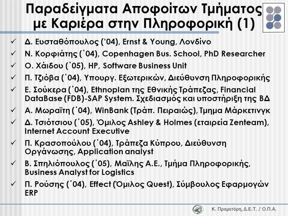 Κ. Π ραματάρη, Δ.Ε.Τ. / Ο.Π.Α. Παραδείγματα Αποφοίτων Τμήματος με Καριέρα στην Πληροφορική (1)  Δ. Ευσταθόπουλος ('04), Ernst & Young, Λονδίνο  Ν. Κ