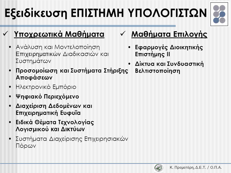 Κ. Π ραματάρη, Δ.Ε.Τ. / Ο.Π.Α.  Υποχρεωτικά Μαθήματα •Ανάλυση και Μοντελοποίηση Επιχειρηματικών Διαδικασιών και Συστημάτων • Προσομοίωση και Συστήματ
