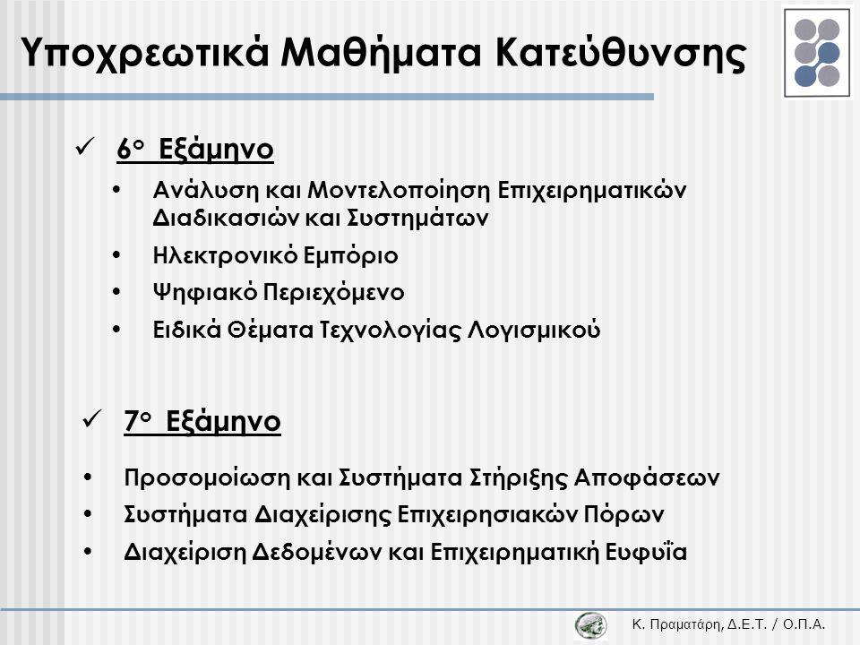 Κ. Π ραματάρη, Δ.Ε.Τ. / Ο.Π.Α. Υποχρεωτικά Μαθήματα Κατεύθυνσης  6 ο Εξάμηνο  7 ο Εξάμηνο • Ανάλυση και Μοντελοποίηση Επιχειρηματικών Διαδικασιών κα
