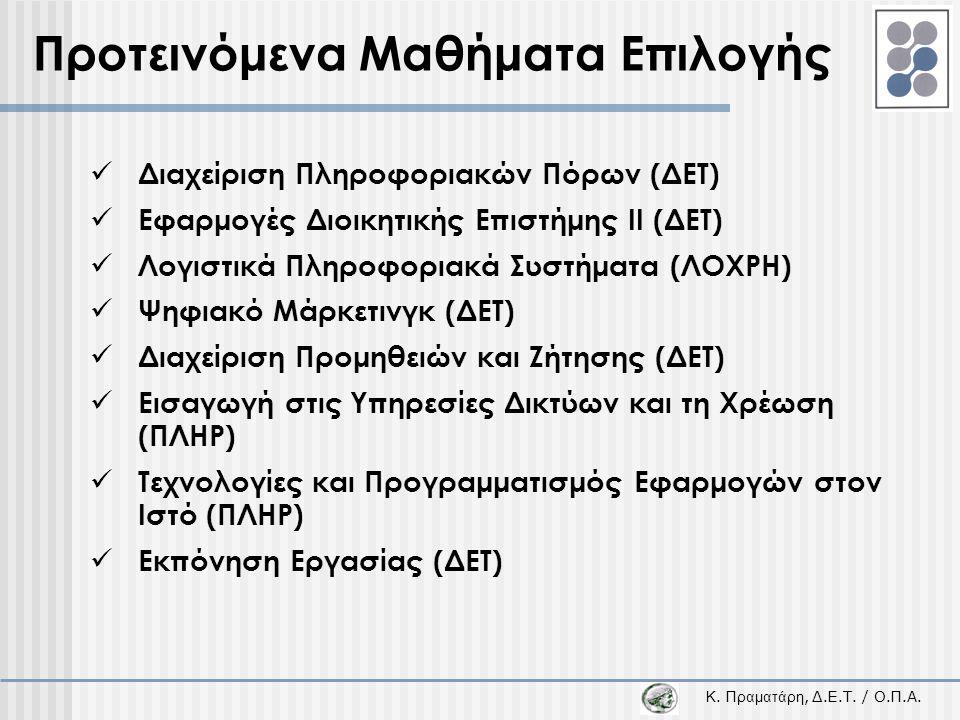 Κ. Π ραματάρη, Δ.Ε.Τ. / Ο.Π.Α. Προτεινόμενα Μαθήματα Επιλογής  Διαχείριση Πληροφοριακών Πόρων (ΔΕΤ)  Εφαρμογές Διοικητικής Επιστήμης ΙΙ (ΔΕΤ)  Λογι