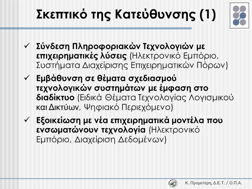Κ. Π ραματάρη, Δ.Ε.Τ. / Ο.Π.Α. Σκεπτικό της Κατεύθυνσης (1)  Σύνδεση Πληροφοριακών Τεχνολογιών με επιχειρηματικές λύσεις (Ηλεκτρονικό Εμπόριο, Συστήμ