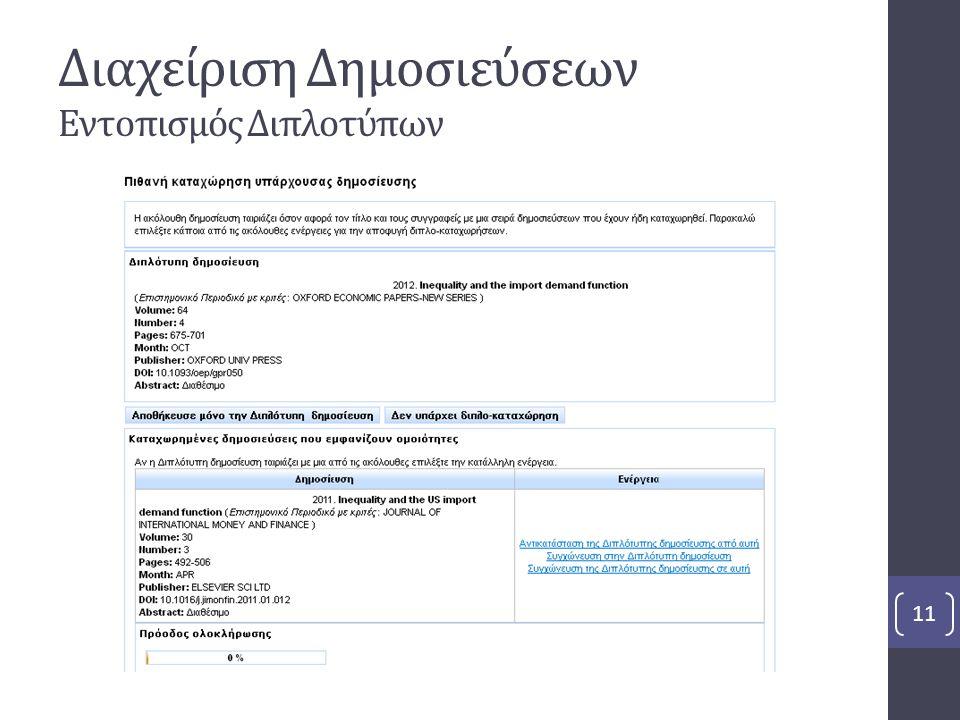 Διαχείριση Δημοσιεύσεων Εντοπισμός Διπλοτύπων 11