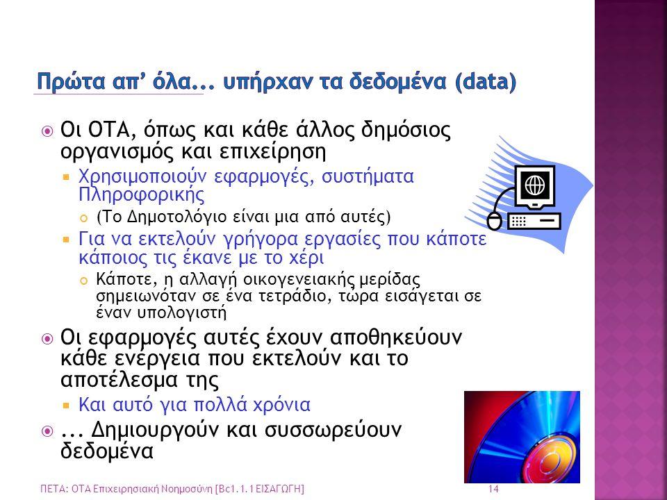  Οι ΟΤΑ, όπως και κάθε άλλος δημόσιος οργανισμός και επιχείρηση  Χρησιμοποιούν εφαρμογές, συστήματα Πληροφορικής (Το Δημοτολόγιο είναι μια από αυτές