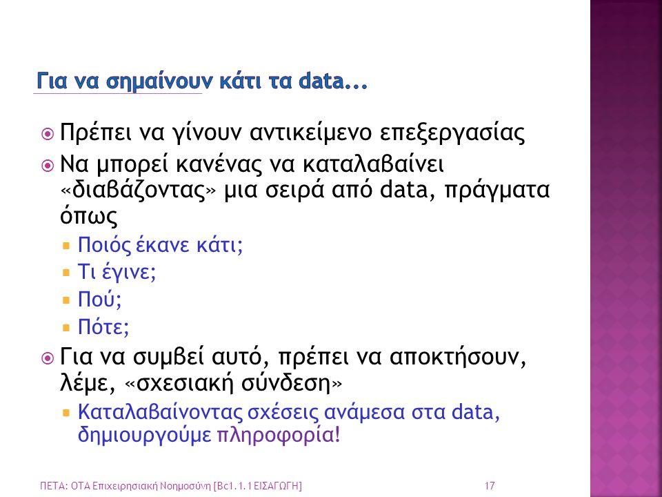  Πρέπει να γίνουν αντικείμενο επεξεργασίας  Να μπορεί κανένας να καταλαβαίνει «διαβάζοντας» μια σειρά από data, πράγματα όπως  Ποιός έκανε κάτι; 