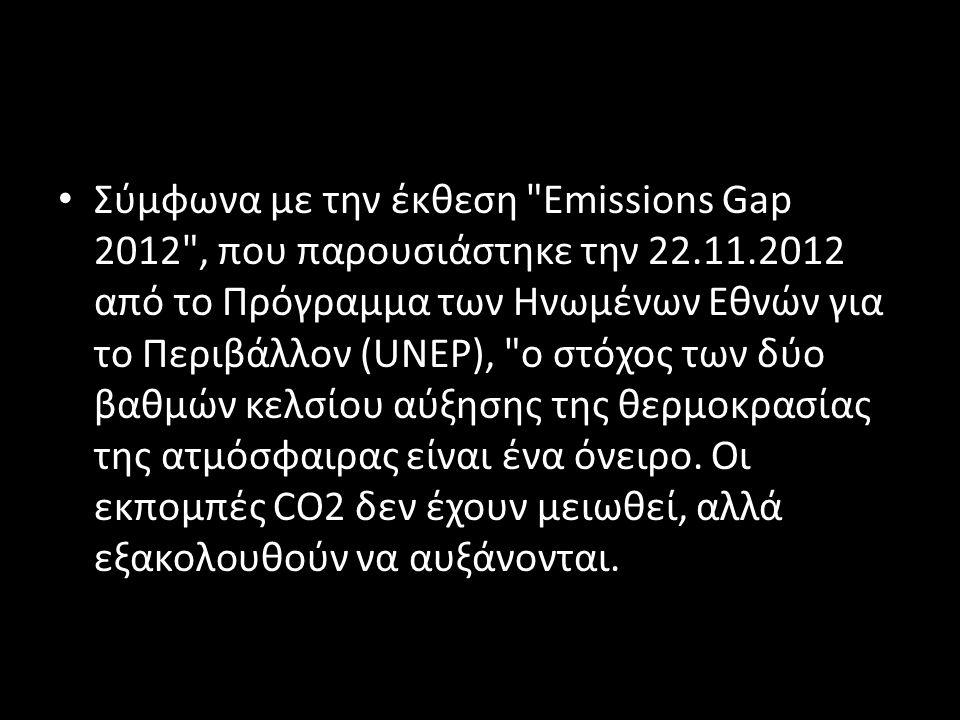 • Σύμφωνα με την έκθεση Emissions Gap 2012 , που παρουσιάστηκε την 22.11.2012 από το Πρόγραμμα των Ηνωμένων Εθνών για το Περιβάλλον (UNEP), ο στόχος των δύο βαθμών κελσίου αύξησης της θερμοκρασίας της ατμόσφαιρας είναι ένα όνειρο.