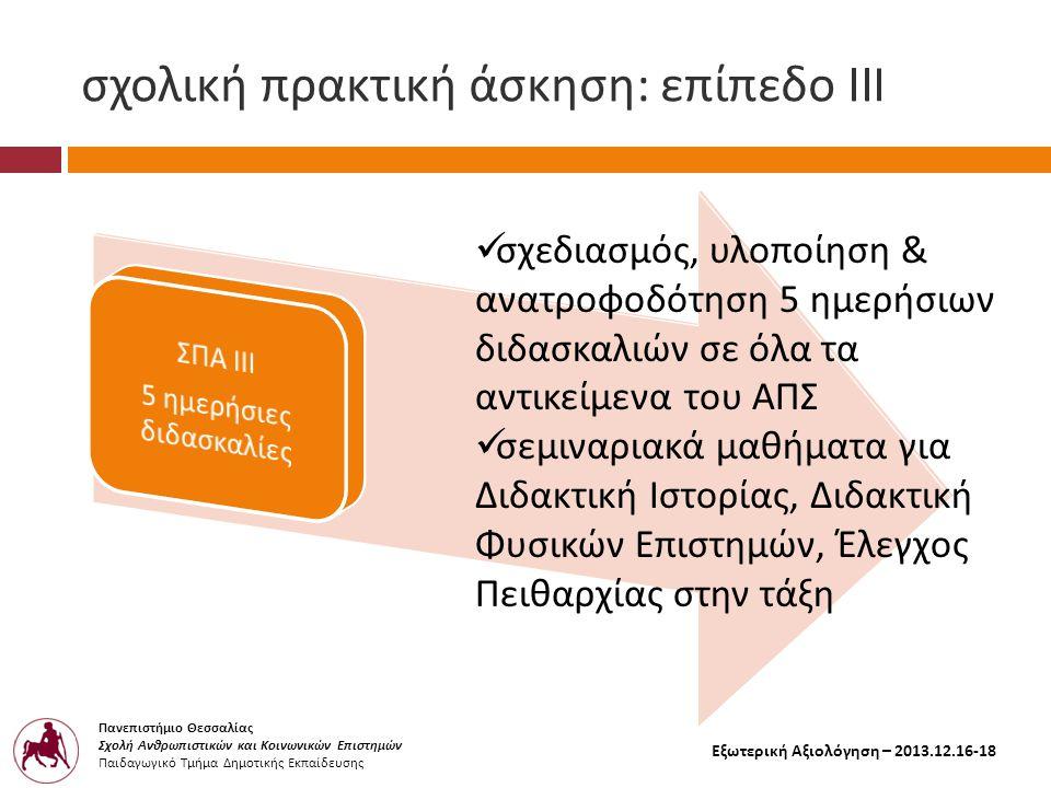 Πανεπιστήμιο Θεσσαλίας Σχολή Ανθρωπιστικών και Κοινωνικών Επιστημών Παιδαγωγικό Τμήμα Δημοτικής Εκπαίδευσης Εξωτερική Αξιολόγηση – 2013.12.16-18 σχολική πρακτική άσκηση : επίπεδο ΙΙ I  σχεδιασμός, υλοποίηση & ανατροφοδότηση 5 ημερήσιων διδασκαλιών σε όλα τα αντικείμενα του ΑΠΣ  σεμιναριακά μαθήματα για Διδακτική Ιστορίας, Διδακτική Φυσικών Επιστημών, Έλεγχος Πειθαρχίας στην τάξη