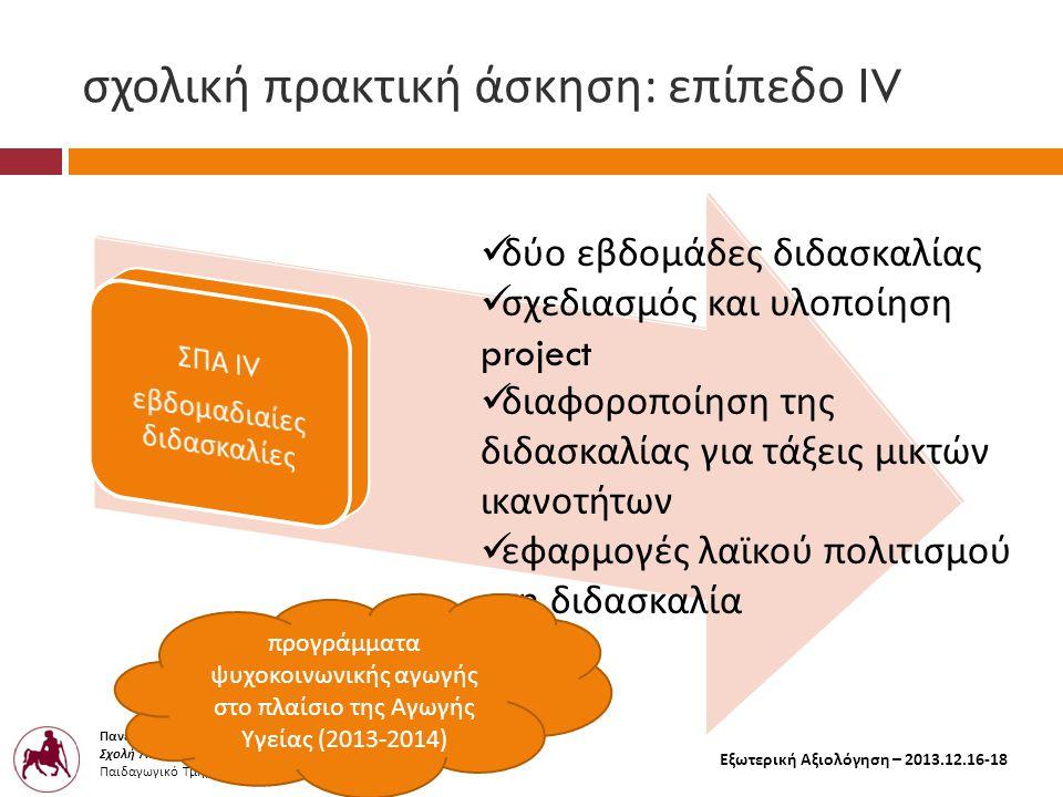 Πανεπιστήμιο Θεσσαλίας Σχολή Ανθρωπιστικών και Κοινωνικών Επιστημών Παιδαγωγικό Τμήμα Δημοτικής Εκπαίδευσης Εξωτερική Αξιολόγηση – 2013.12.16-18 σχολική πρακτική άσκηση : επίπεδο Ι V  δύο εβδομάδες διδασκαλίας  σχεδιασμός και υλοποίηση project  διαφοροποίηση της διδασκαλίας για τάξεις μικτών ικανοτήτων  εφαρμογές λαϊκού πολιτισμού στη διδασκαλία π ρογράμματα ψυχοκοινωνικής αγωγής στο π λαίσιο της Αγωγής Υγείας (2013-2014)