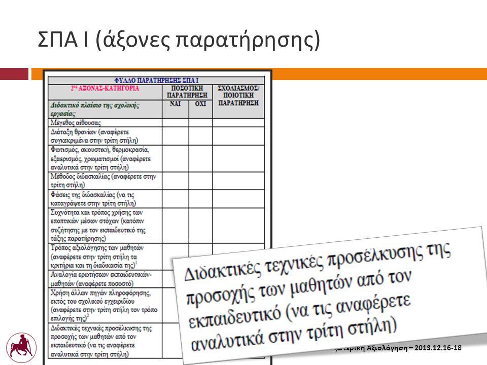 Πανεπιστήμιο Θεσσαλίας Σχολή Ανθρωπιστικών και Κοινωνικών Επιστημών Παιδαγωγικό Τμήμα Δημοτικής Εκπαίδευσης Εξωτερική Αξιολόγηση – 2013.12.16-18 ΣΠΑ Ι ( άξονες παρατήρησης )
