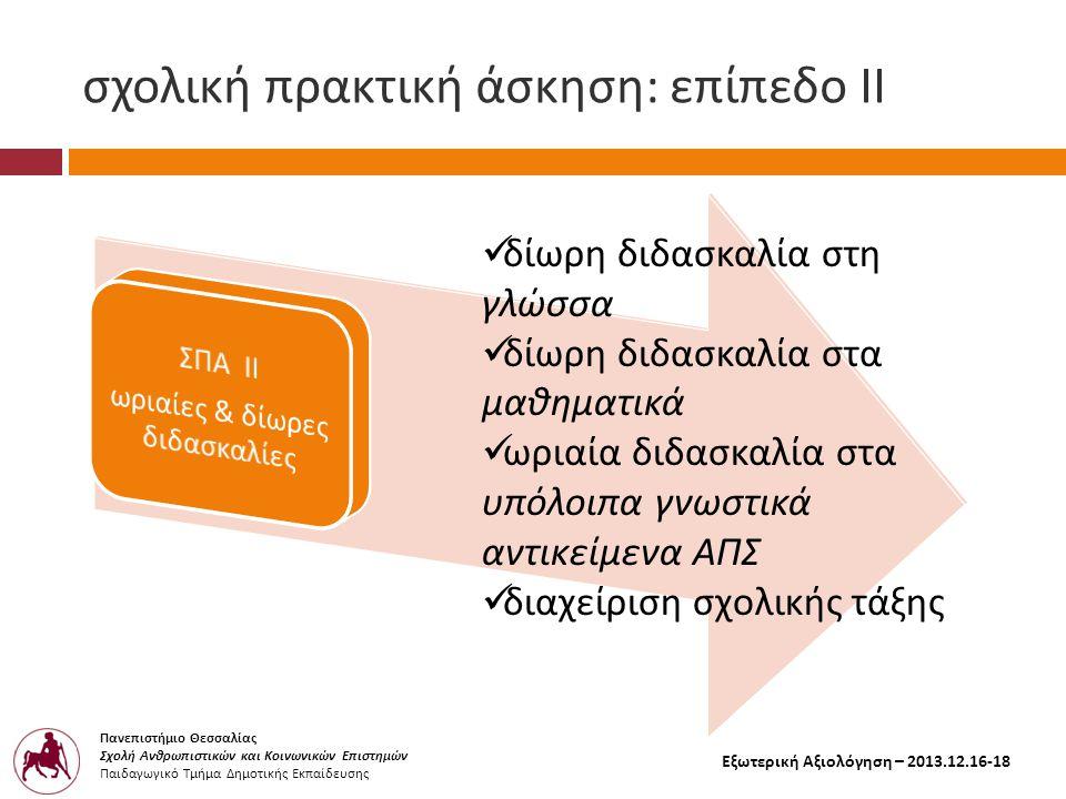 Πανεπιστήμιο Θεσσαλίας Σχολή Ανθρωπιστικών και Κοινωνικών Επιστημών Παιδαγωγικό Τμήμα Δημοτικής Εκπαίδευσης Εξωτερική Αξιολόγηση – 2013.12.16-18 σχολική πρακτική άσκηση : επίπεδο ΙΙ  δίωρη διδασκαλία στη γλώσσα  δίωρη διδασκαλία στα μαθηματικά  ωριαία διδασκαλία στα υπόλοιπα γνωστικά αντικείμενα ΑΠΣ  διαχείριση σχολικής τάξης