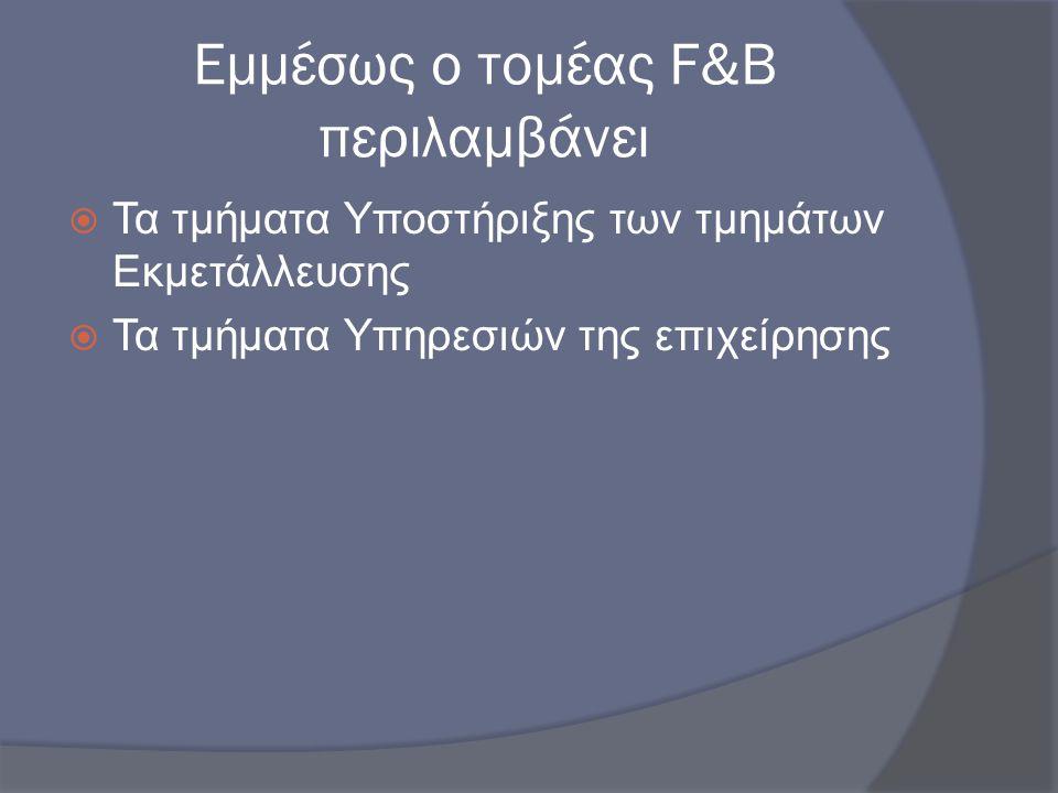 Εμμέσως ο τομέας F&B περιλαμβάνει  Τα τμήματα Υποστήριξης των τμημάτων Εκμετάλλευσης  Τα τμήματα Υπηρεσιών της επιχείρησης