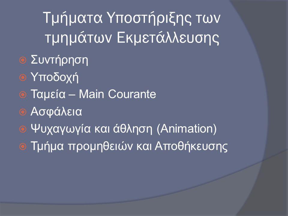 Τμήματα Υποστήριξης των τμημάτων Εκμετάλλευσης  Συντήρηση  Υποδοχή  Ταμεία – Main Courante  Ασφάλεια  Ψυχαγωγία και άθληση (Animation)  Τμήμα πρ