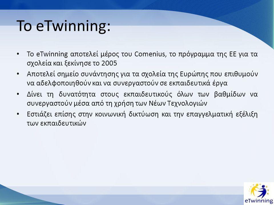 Βήματα για τη συμμετοχή στη δράση •Εγγραφή στην πύλη eTwinning www.etwinning.net: η εγγραφή γίνεται σε δύο στάδια.www.etwinning.net