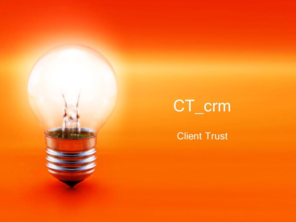 To CT_crm, είναι ένα λογισμικό πλήρους διαχείρισης πελατειακών σχέσεων όπου καταγράφονται στοιχεία τεχνικής υποστήριξης, πωλήσεων, marketing, emails χωρίζεται στην παρακάτω ενότητες: Πελατολόγιο Αιτήματα υποστήριξης Πωλήσεις Emails Ημερολόγιο Ιχνιλασιμότητα πληροφορίας Reports Καρτέλα πελάτη