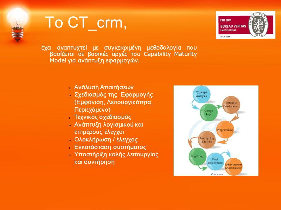 To CT_crm, έχει αναπτυχτεί με συγκεκριμένη μεθοδολογία που βασίζεται σε βασικές αρχές του Capability Maturity Model για ανάπτυξη εφαρμογών.