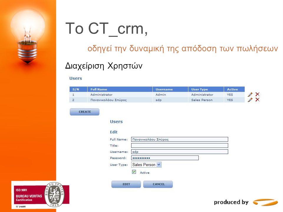 To CT_crm, οδηγεί την δυναμική της απόδοση των πωλήσεων Διαχείριση Χρηστών