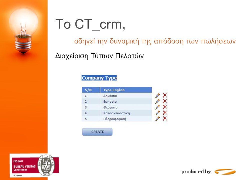 To CT_crm, οδηγεί την δυναμική της απόδοση των πωλήσεων Διαχείριση Πελατών