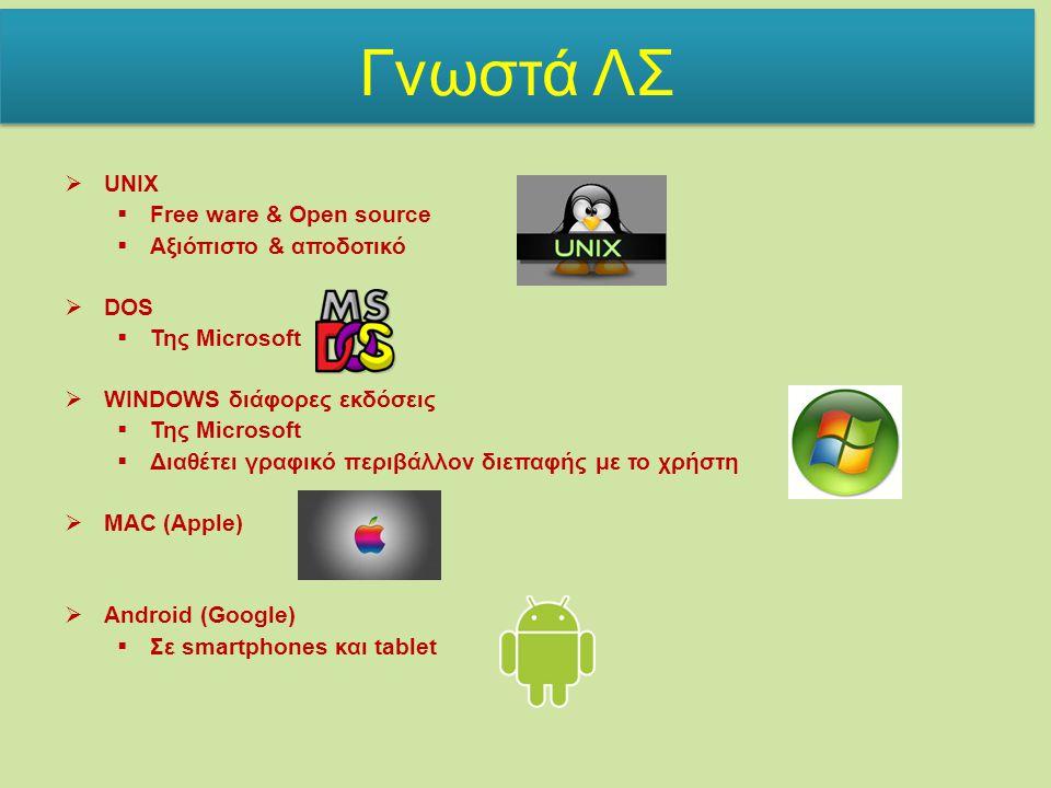  UNIX  Free ware & Open source  Αξιόπιστο & αποδοτικό  DOS  Της Microsoft  WINDOWS διάφορες εκδόσεις  Της Microsoft  Διαθέτει γραφικό περιβάλλον διεπαφής με το χρήστη  MAC (Apple)  Android (Google)  Σε smartphones και tablet Γνωστά ΛΣ