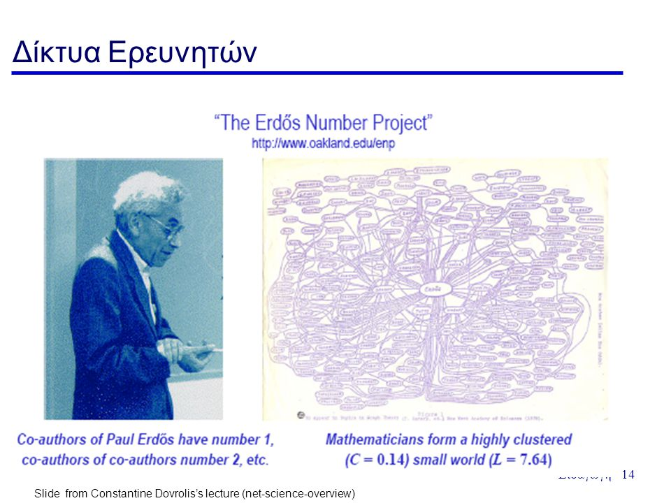 Εισαγωγή - 14 Δίκτυα Ερευνητών Slide from Constantine Dovrolis's lecture (net-science-overview)