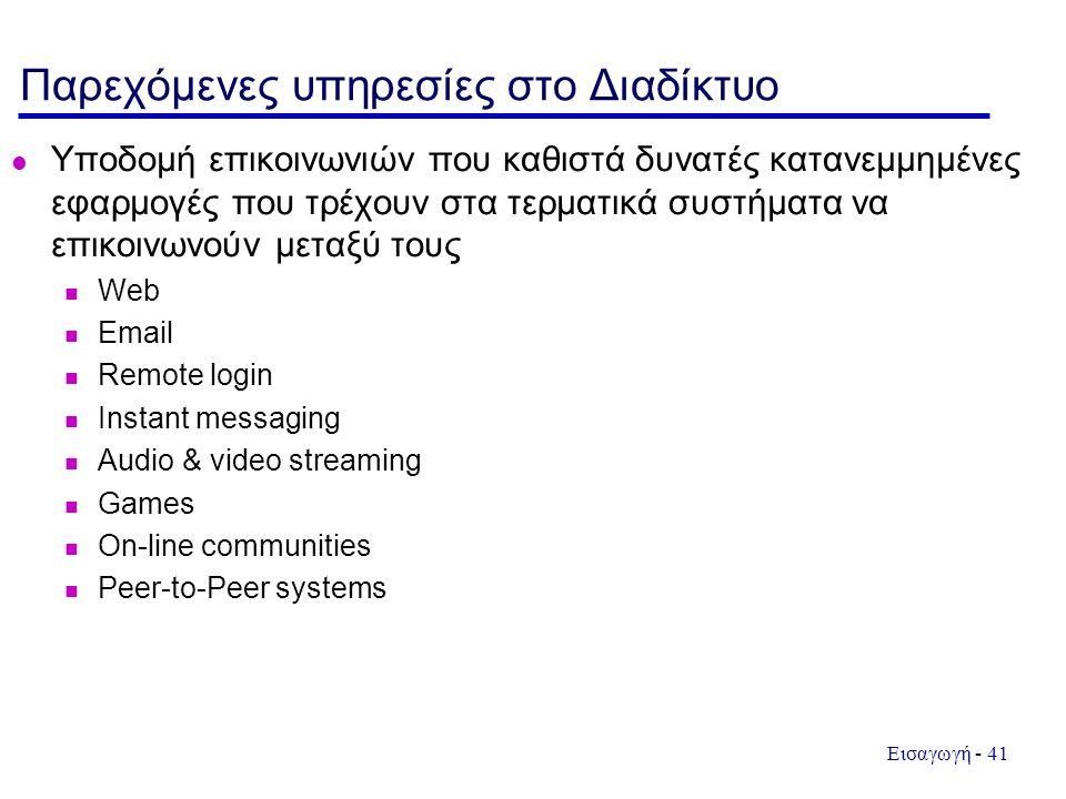 Εισαγωγή - 41 Παρεχόμενες υπηρεσίες στο Διαδίκτυο  Υποδομή επικοινωνιών που καθιστά δυνατές κατανεμμημένες εφαρμογές που τρέχουν στα τερματικά συστήμ