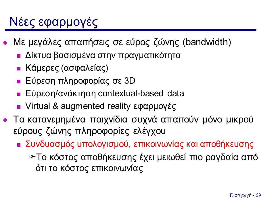 Εισαγωγή - 69 Νέες εφαρμογές  Με μεγάλες απαιτήσεις σε εύρος ζώνης (bandwidth)  Δίκτυα βασισμένα στην πραγματικότητα  Κάμερες (ασφαλείας) n Εύρεση