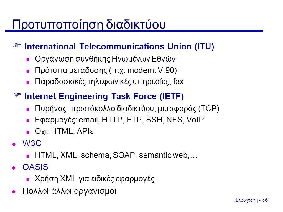 Εισαγωγή - 86 Προτυποποίηση διαδικτύου  International Telecommunications Union (ITU)  Οργάνωση συνθήκης Ηνωμένων Εθνών  Πρότυπα μετάδοσης (π.χ. mod