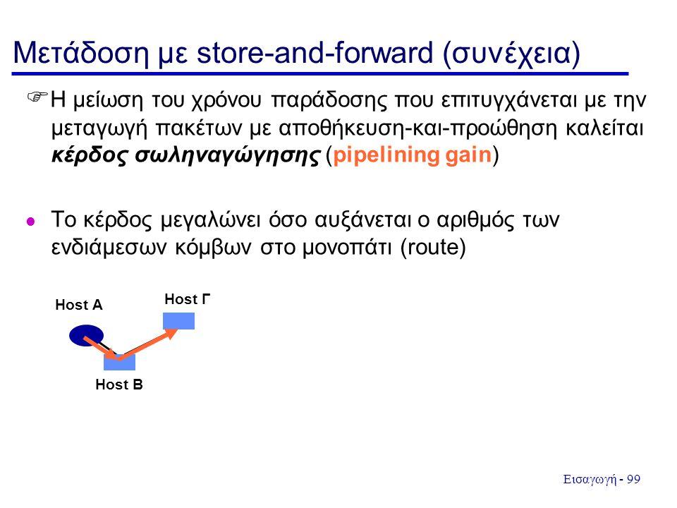 Εισαγωγή - 99 Μετάδοση με store-and-forward (συνέχεια)  Η μείωση του χρόνου παράδοσης που επιτυγχάνεται με την μεταγωγή πακέτων με αποθήκευση-και-προ