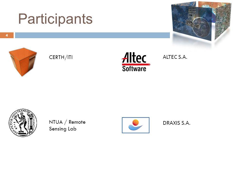 Participants 4 CERTH/ITI ALTEC S.A. NTUA / Remote Sensing Lab DRAXIS S.A.