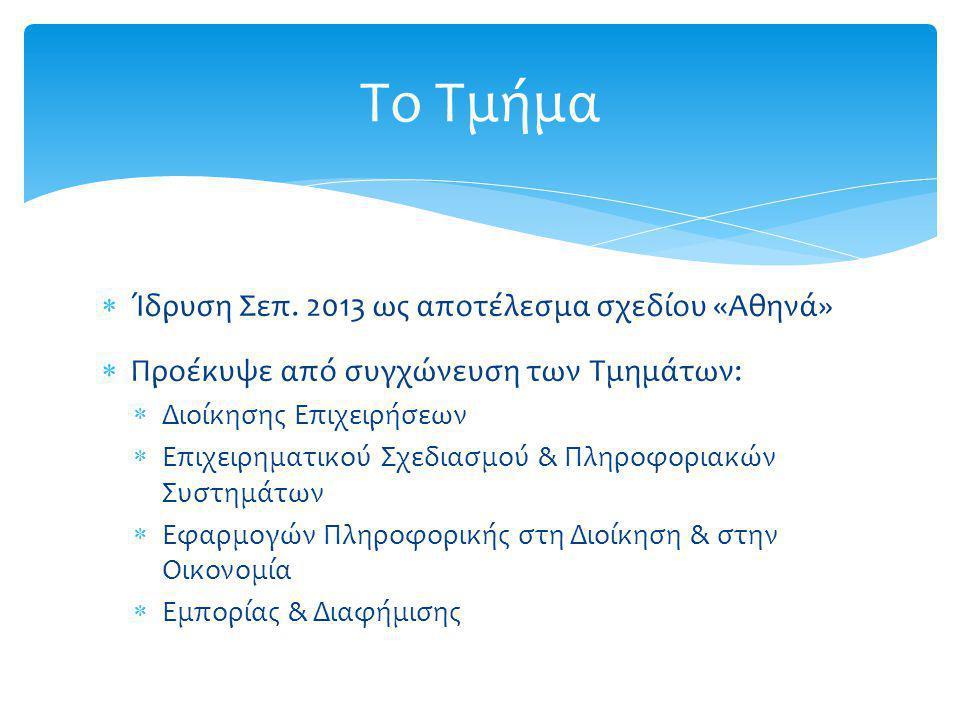  Ίδρυση Σεπ. 2013 ως αποτέλεσμα σχεδίου «Αθηνά»  Προέκυψε από συγχώνευση των Τμημάτων:  Διοίκησης Επιχειρήσεων  Επιχειρηματικού Σχεδιασμού & Πληρο