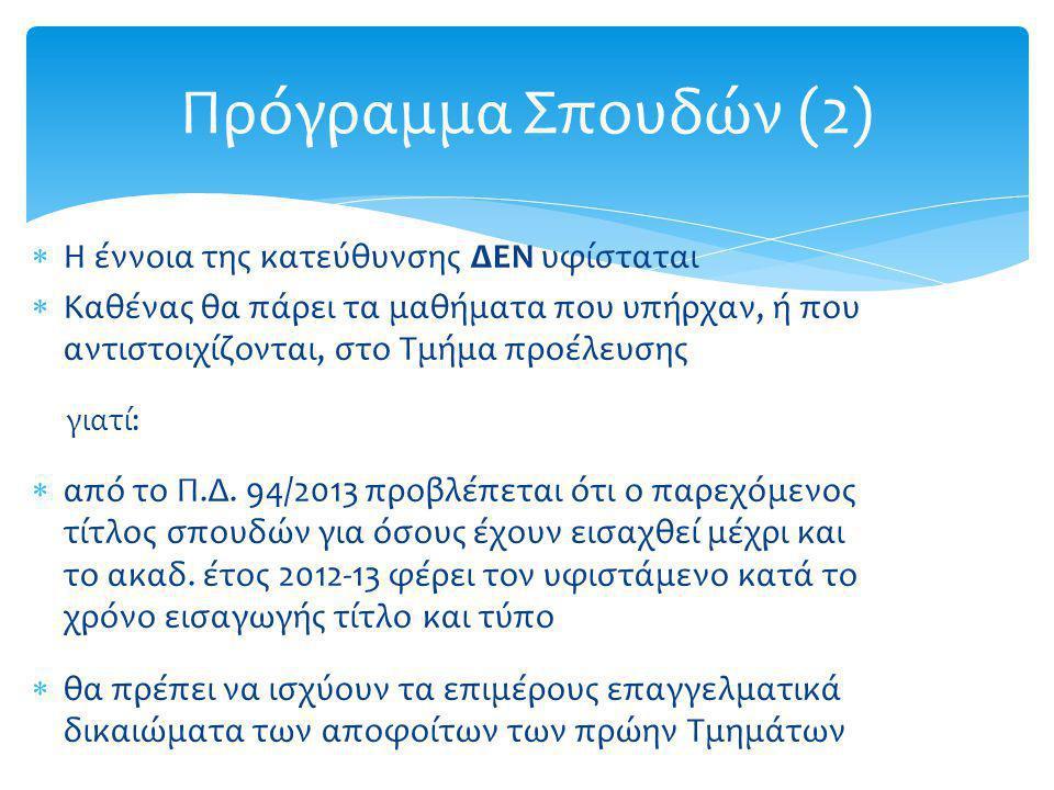 Πρόγραμμα Σπουδών (2)  Η έννοια της κατεύθυνσης ΔΕΝ υφίσταται  Καθένας θα πάρει τα μαθήματα που υπήρχαν, ή που αντιστοιχίζονται, στο Τμήμα προέλευση