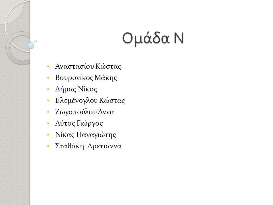 Ομάδα Ν • Αναστασίου Κώστας • Βουρονίκος Μάκης • Δήμας Νίκος • Ελεμένογλου Κώστας • Ζωγοπούλου Άννα • Λύτος Γιώργος • Νίκας Παναγιώτης • Σταθάκη Αρετιάννα ίου Κώστας