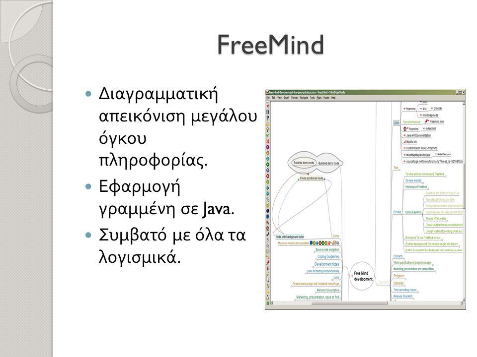FreeMind  Διαγραμματική απεικόνιση μεγάλου όγκου πληροφορίας.