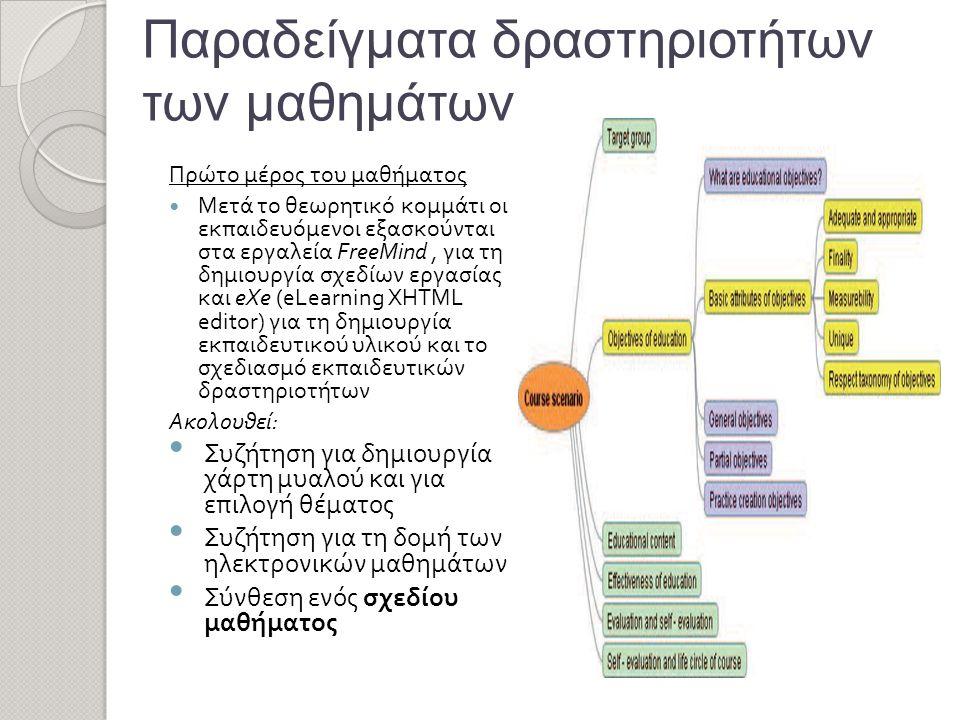 Παραδείγματα δραστηριοτήτων των μαθημάτων Πρώτο μέρος του μαθήματος  Μετά το θεωρητικό κομμάτι οι εκπαιδευόμενοι εξασκούνται στα εργαλεία FreeMind, για τη δημιουργία σχεδίων εργασίας και eXe (eLearning XHTML editor) για τη δημιουργία εκπαιδευτικού υλικού και το σχεδιασμό εκπαιδευτικών δραστηριοτήτων Ακολουθεί: • Συζήτηση για δημιουργία χάρτη μυαλού και για επιλογή θέματος • Συζήτηση για τη δομή των ηλεκτρονικών μαθημάτων • Σύνθεση ενός σχεδίου μαθήματος